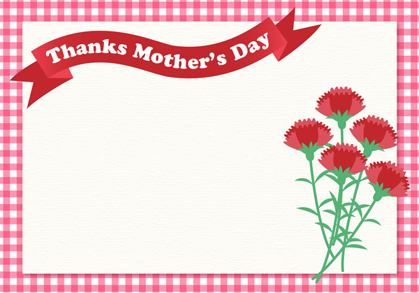 ギンガムチェックのフレーム枠がナチュラルかわいい母の日メッセージカード