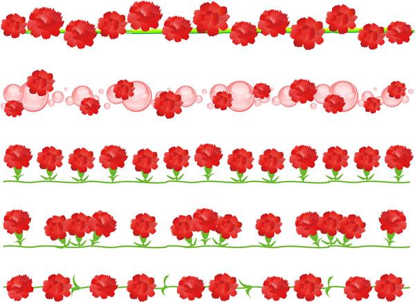 カーネーションのイラストで作った可愛いライン飾り罫線セット