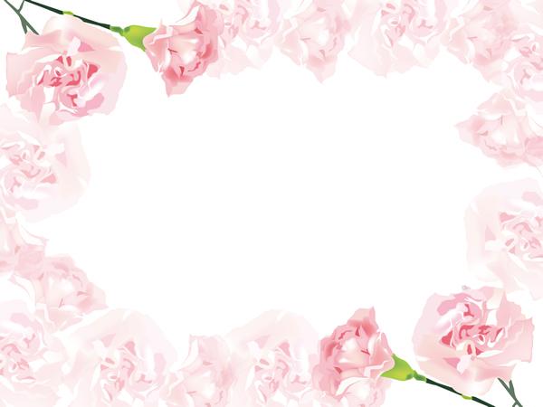 淡い色合いがガーリーでかわいいカーネーションの背景フレーム無料イラスト