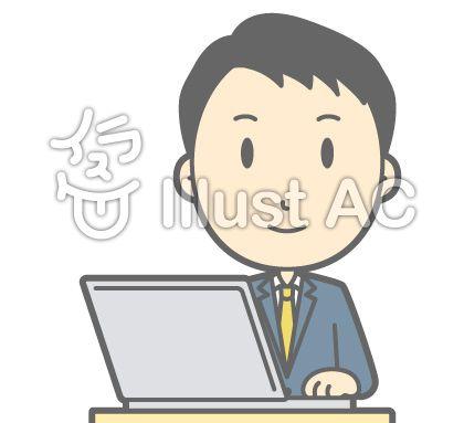 ノートPCで作業をする男性ビジネスマンのイラスト