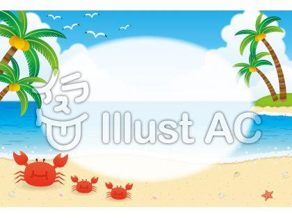 夏の空と海のフレーム枠背景イラスト無料ベクター素材aieps