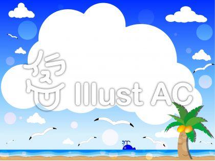 海と浜辺と雲フレーム枠イラスト