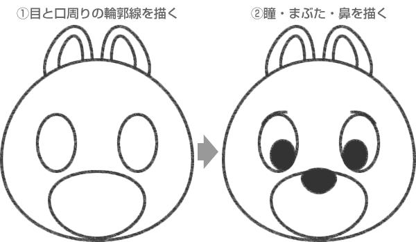 STEP.2 チップの目・鼻・口周りの線を描く