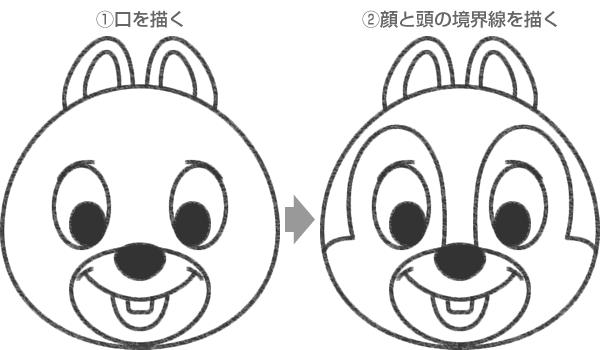 STEP.3 口と前歯・顔と頭の境界線を描いたら可愛いチップの完成!