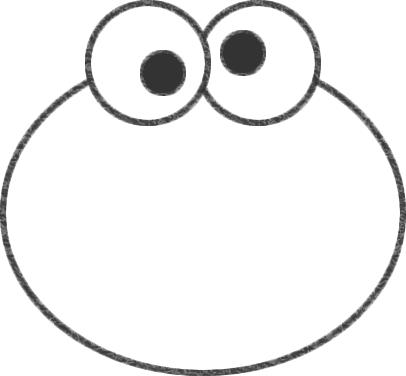 クッキーモンスターの顔の輪郭線を描く