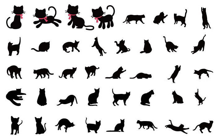 猫のシルエットイラスト無料素材