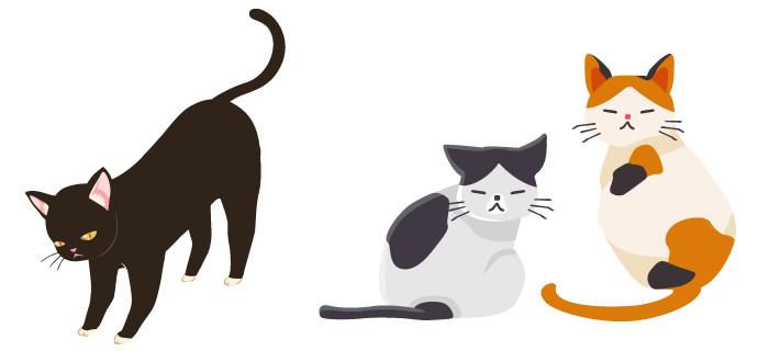 ガーリーテイストな猫のイラスト無料素材