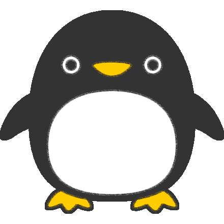 色を塗ったペンギンのイラスト