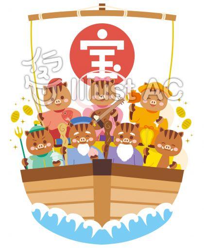 猪の七福神が乗った宝船のベクターイラスト素材