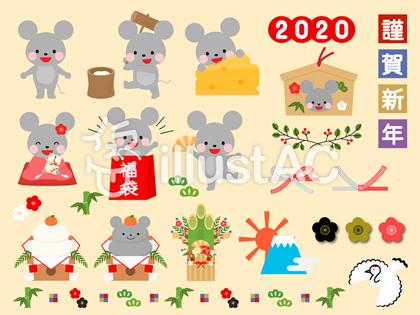 可愛いネズミの年賀状イラストセット