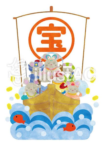 ねずみの七福神が乗った宝船のベクターイラスト素材